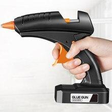 Pistola de cola de derretimento quente sem fio 80w 12v bateria de lítio recarregável sem fio ferramenta reparo profissional cola para 11mm cola vara