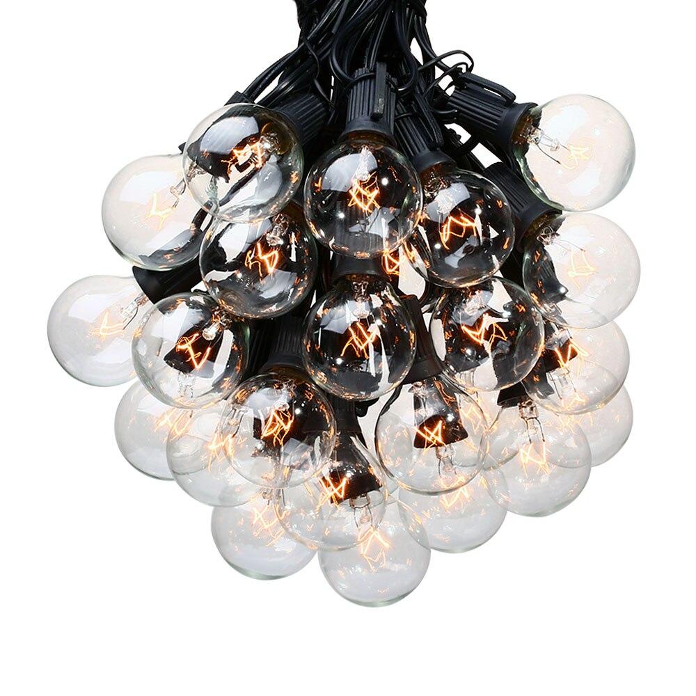 Patio Lumières G40 Globe Guirlande Lumineuse Fête de Noël Blanc Chaud 25 Clair Vintage Ampoules 25ft Décoratif Cour Extérieure Guirlande