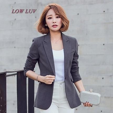Traje chaqueta mujer larga sección de la nueva gran tamaño de un solo botón traje  de c0220c4b7d17