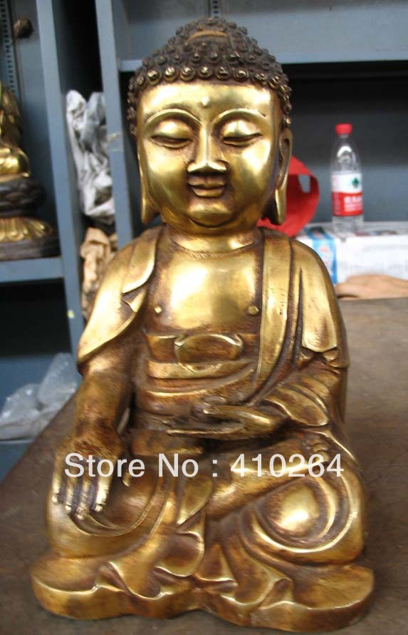 [old craft ] 18cm South Korea Buddha Buddhism collections bronze statue (A0314)[old craft ] 18cm South Korea Buddha Buddhism collections bronze statue (A0314)