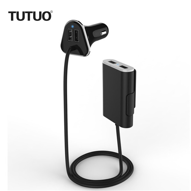 TUTUO 9.6A 4 USB Car Charger with 1.8m Cable for Cell phones/iPadd/Tablet/iPhone/Android Devices Pront and Back Seat