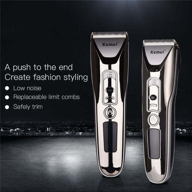 Kemei Electric Ceramic Hair Clipper Rechargeable Hair Trimmer Shaver Barber Hair Cutting Machine Haircut Beard Trimmer LED