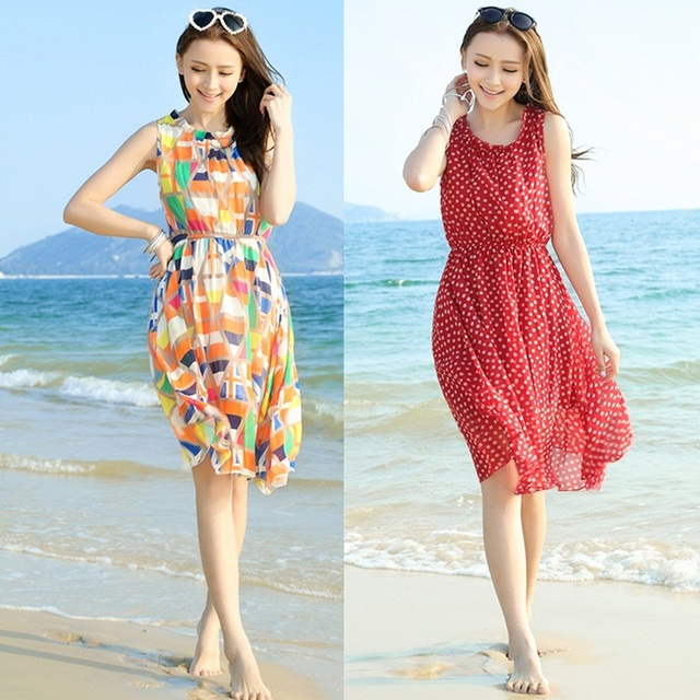 03fd807eff Bohemia tank dress red polka dot sleeveless chiffon one-piece dress short beach  dress elegant design