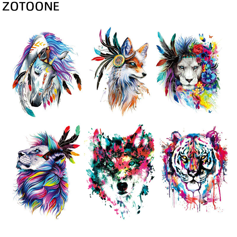 ZOTOONE Wolf Tiger Horse Heat Transfer Patches for Clothing Printed Diy Cute Animal Transfert Thermocollants T-shirt Applique G