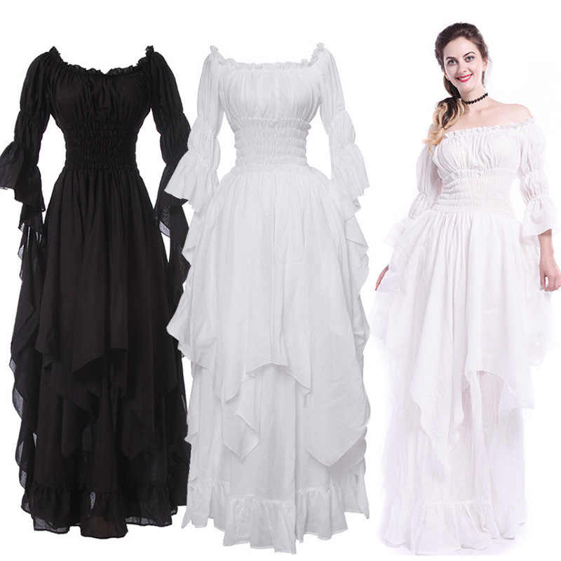 48cf23d87a3 Women Dress Vestidos Verano 2018 New Plus Size Gothic Medieval Renaissance Princess  Dress Square Collar Cosplay