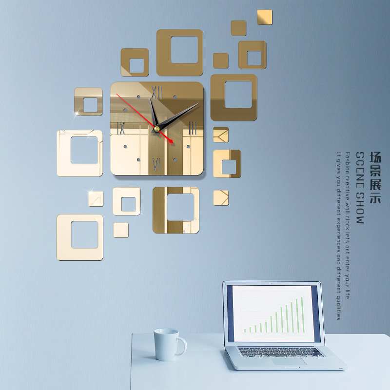 Американский современный большой 3D зеркальная поверхность настенные часы стикер домашний офис комната DIY Декор - Цвет: e