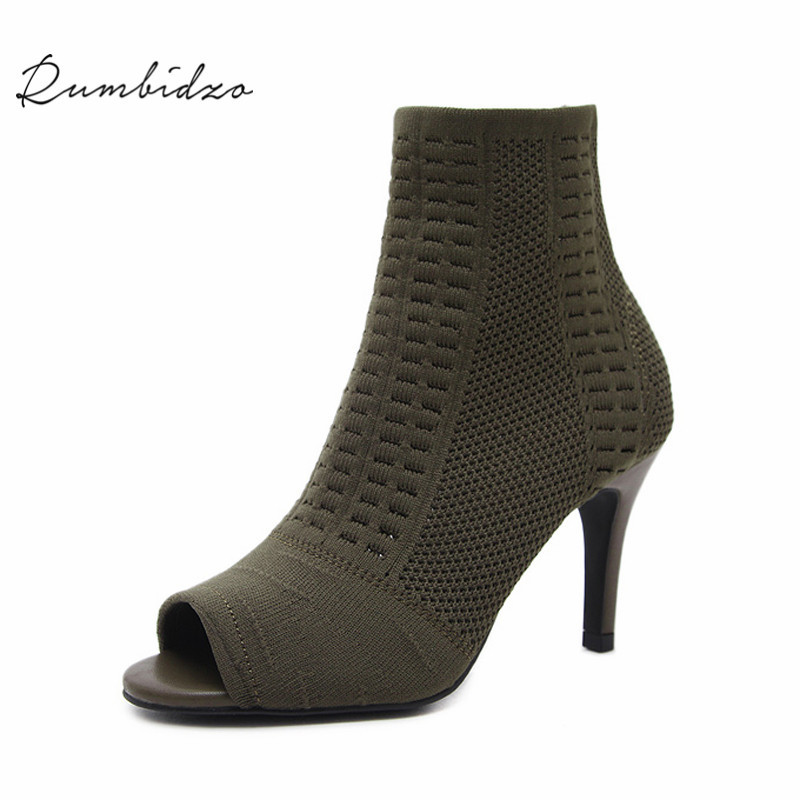 Rumbidzo Women Boots 2018 Thin Heel High Heels Shoes Woman Female Socks Boots Ankle Boots Autumn Winter Bootie Botas 2018 ankle boots for women leather boots luxury designer socks shoes short female knitting weave fashion high heel boots