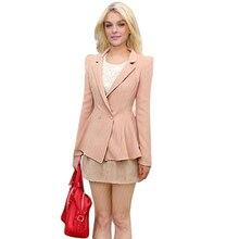Nice Womens Fall Fashion Blazer Feminino One Buckle Flounced Waist Small Suit Women Blazers And Jackets JT99