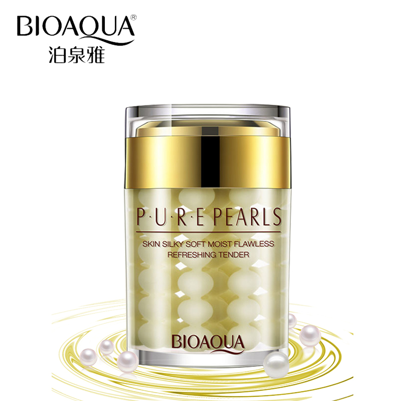 BIOAQUA Brand 100% Pure Pearl Essence Face Cream Deep Moisturizing Skin Care Anti Wrinkle Face Care Whitening Cream Mask 60g 60g brand bioaqua silk protein deep moisturizing face cream shrink pores skin care anti wrinkle cream face care whitening cream page 7