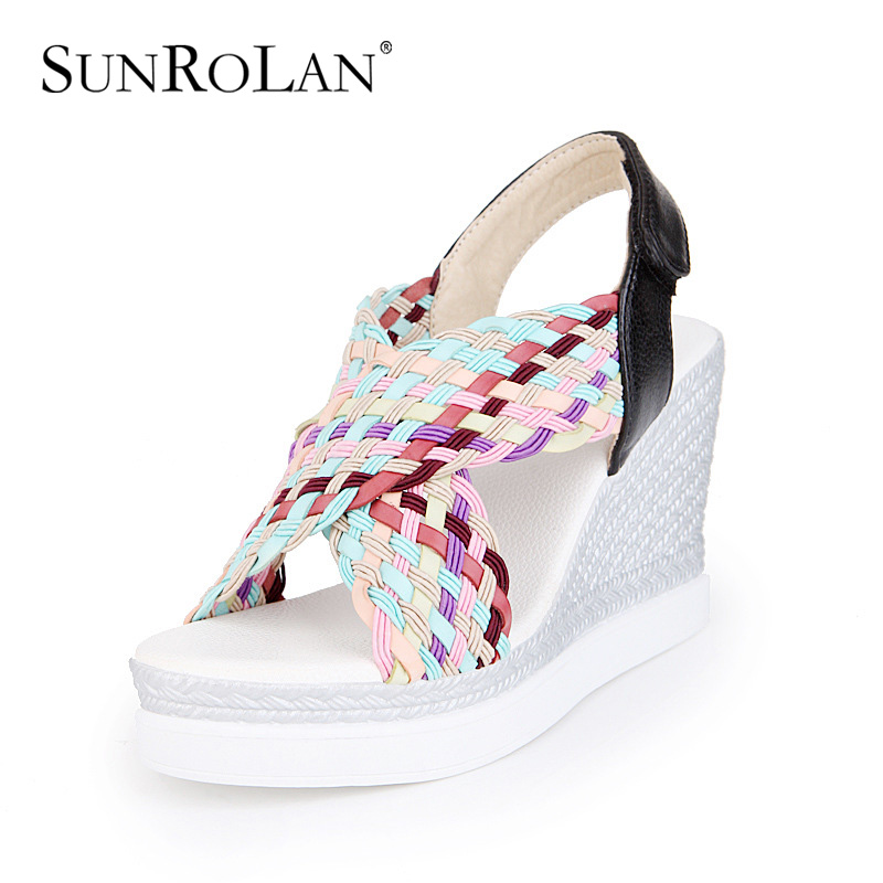 SUNROLAN 2017 Summer Shoes Woman Soft PU Platform Sandals Women Fish Head Casual Open Toe Wedges Women Comfortable shoes CH7 2017 gladiator summer shoes woman platform sandals women flats soft leather casual open toe wedges sandals women shoes r18