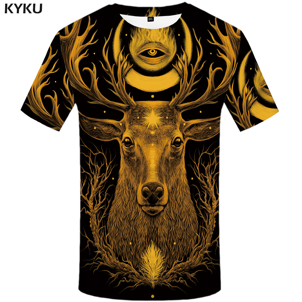 KYKU Deer   T  -  shirt   Men Yellow Galaxy   T     Shirt   Hip Hop Tee Punk Rock Tree 3d Printed Tshirt Animal Mens Clothing New Streetwear Top