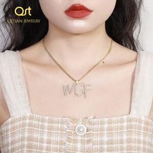 Image 3 - Personalizado iced para fora cursive nome colar letras iniciais zircônia placa de identificação colar hippop cubana chain jewelry para homens