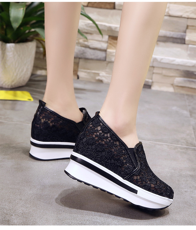 2019 Wedges Canvas Shoes For Woman Platform Vulcanized Air Mesh Shoes Hollow Lace-Up Hidden Heel Height Increasing shoes Casual 4