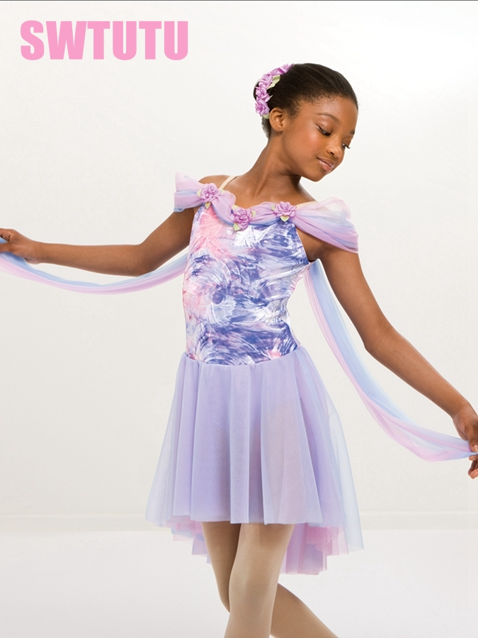 women adult ballerina dance costume dress tutu child lilac performance lyrical stage ballet costume dress  BL0042