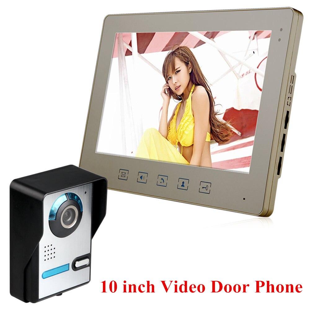 """10"""" Tft Wired Video Intercom Doorbell Rainproof Door Phone Camera Chime For Cctv Home Security Online Shop"""