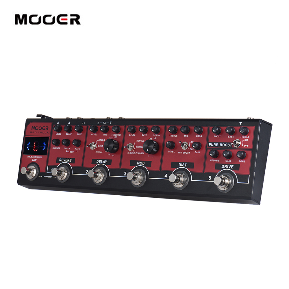 MOOER RED TRUCK 6 in 1 Combined Effect Pedal Boost Overdrive Distortion Modulation Delay Reverb Built