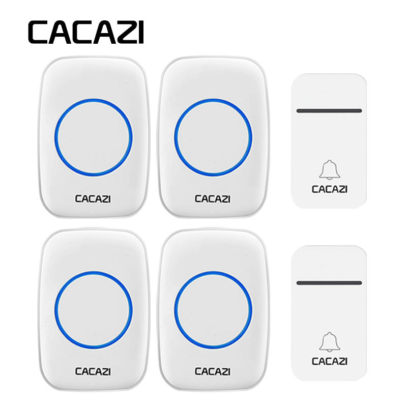 CACAZI Waterproof Home Wireless Doorbell LED Light 200M Remote Calling Bell Self-Powered No Battery US EU Plug 3 Volume 38 Chime цена