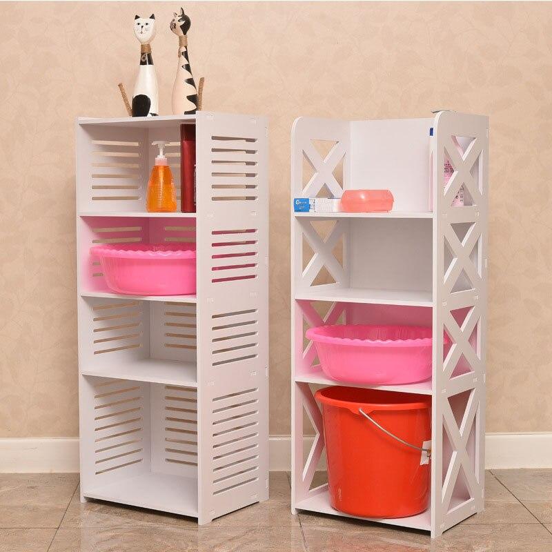 Fashion DIY Floor Mounted Bathroom Storage Racks Bathroom Side Cabinet Bathroom Organizer Shelf