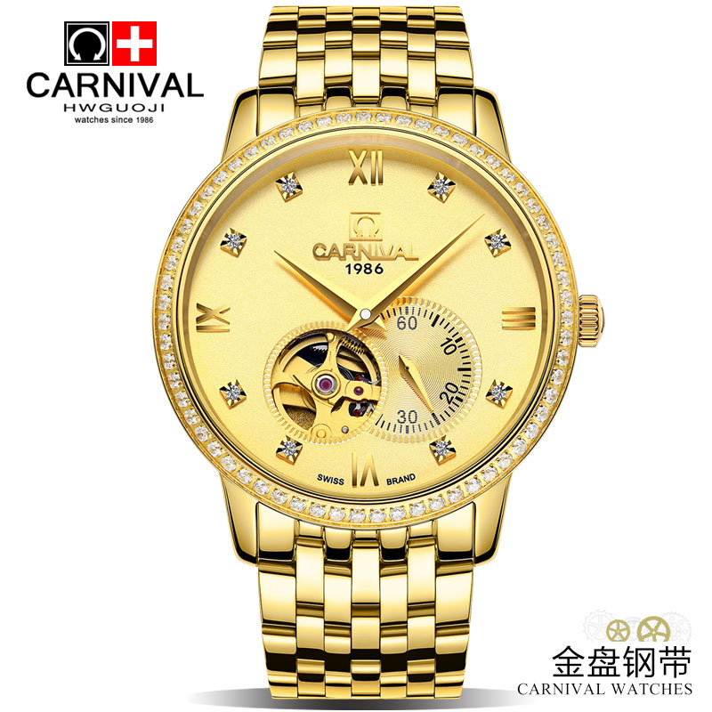 CARNIVAL Top Brand Luxury Men Diamond Gold Watch Sapphire Clock Automatic Mechanical Watches Stainless Steel Clock Relogio New