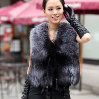 2018 New Design Nature Real Silver Fox Fur Vest Genuine Fox Fur Gilet Winter Fur 0utwear Womens With Fox Heads