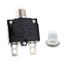 Disyuntor reiniciable de 15A con botón, tapa impermeable transparente para coche, camión, barco, etc., CC 50V o CA 125/250V, 1 Uds.