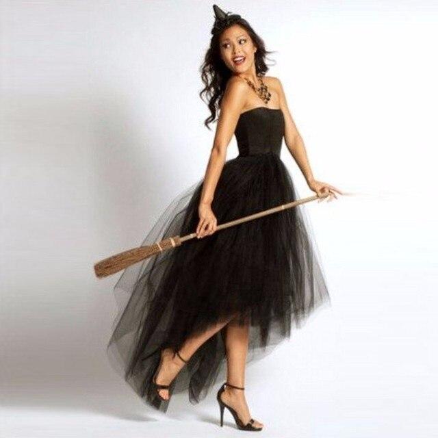 b129cd1a40 Estilo de Halloween negro falda asimétrica por encargo piso longitud Maxi  falda alta baja Tulle faldas