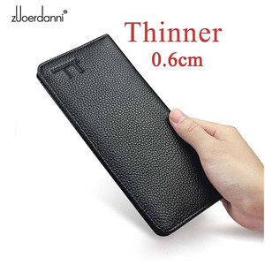 Image 1 - Soft Slam Wallet mens long purses ultra thin wallets genuine leather card holder multi function handbag high quality  fashion