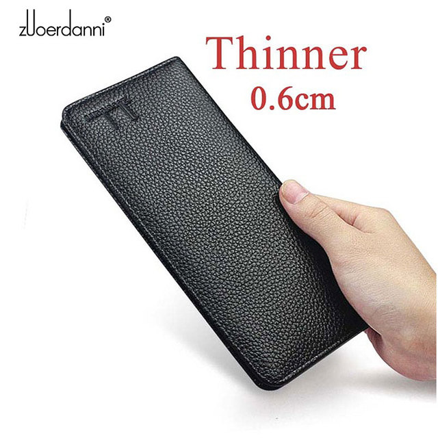 Soft Slam Wallet mens long purses ultra thin wallets genuine leather card holder multi function handbag high quality  fashion