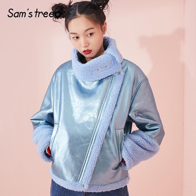 Samstree Moto Biker Winter Women Short Coat Shiny Fabric Female Jacket Turtleneck Blue Warm Young Lady