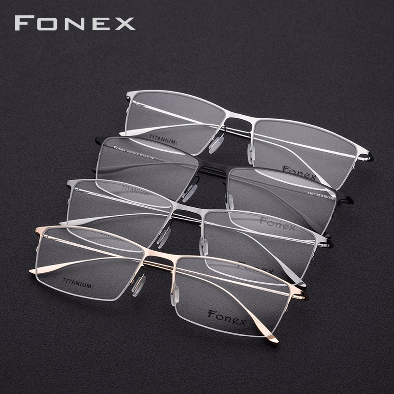 FONEX Titanium Alloy Glasses Frame Men Square Myopia Prescription Eyeglasses Frames Half Rim Optical Male Korean Eyewear 8101