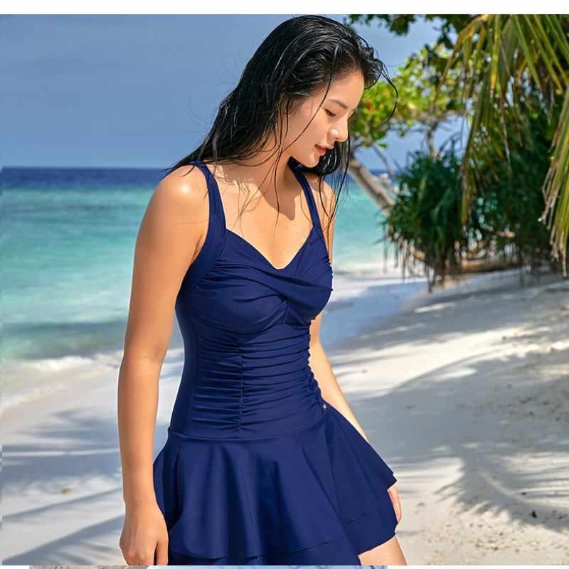 f0fd257de10 ... 361 One Piece Swimsuit Women Plus Size Conservative Tummy Control Swimming  Dress Female Bathing Suit with ...