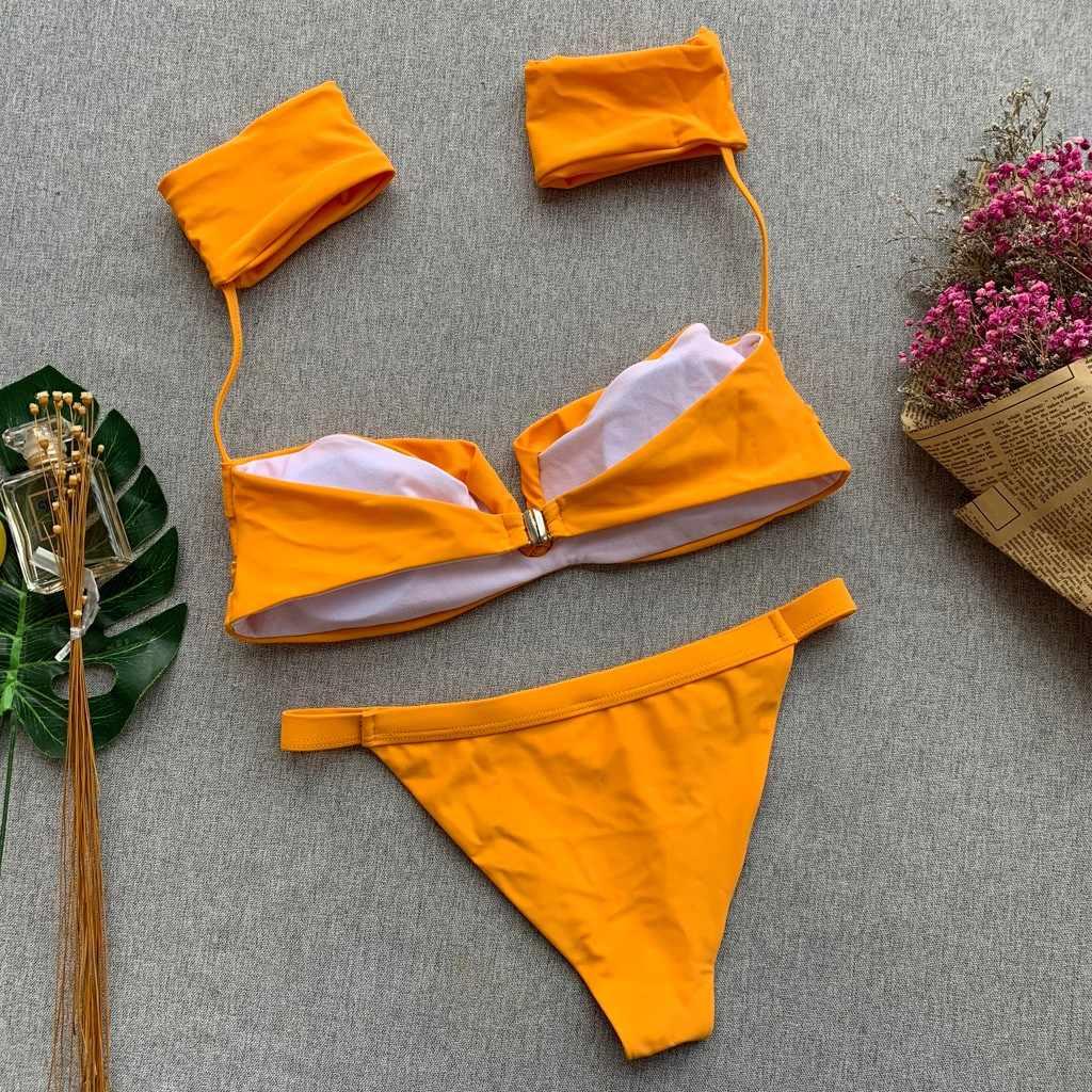 Wanita Bikini Seksi Wanita Push Up Pakaian Renang Pantai Off Bahu Jas Pesta Biquinis Feminino 2019 Perlindungan Matahari Ukuran 19Feb14