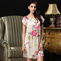 100% Genuína Camisola De Seda Feminino Floral Impresso Nightgowns Mulheres Pijamas de Seda Real Em Torno Do Pescoço Manga Curta S209