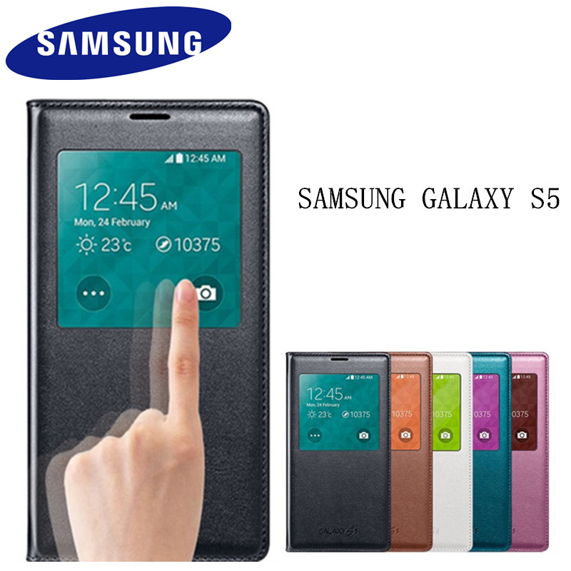 100% echte Original Samsung Galaxy S5 Fall ef-cg900 S Ansicht-schlag-abdeckung Folio Fall Smart Sleep-View Window Schutz abdeckung