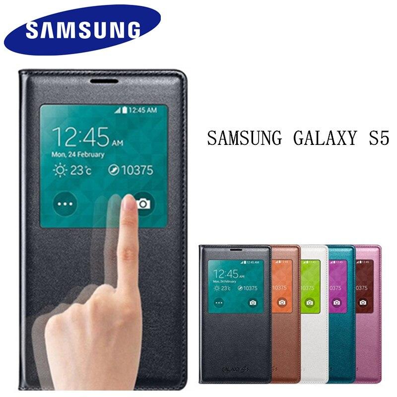 100% genuino original samsung galaxy S5 caso ef-cg900 s-view tirón folio funda Smart Sleep ver Ventana de protección cubierta