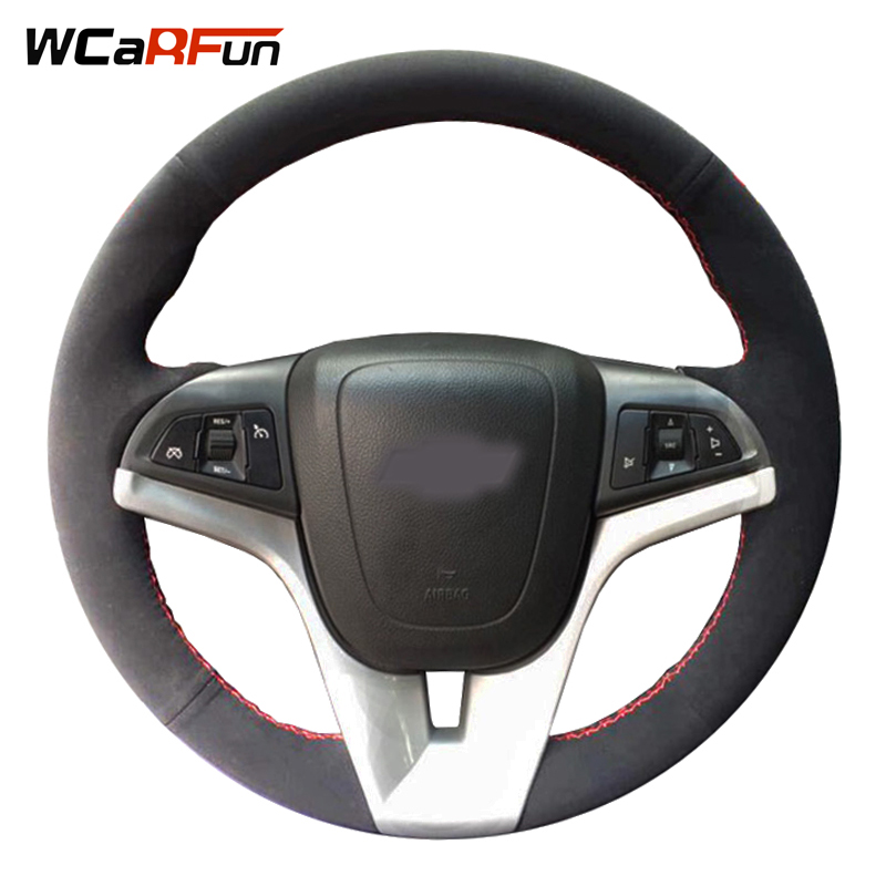 WCaRFun DIY Customized Name Hand Sewing Black Suede Hand-stitched Auto Car Steering Wheel Cover for Chevrolet Cruze Aveo