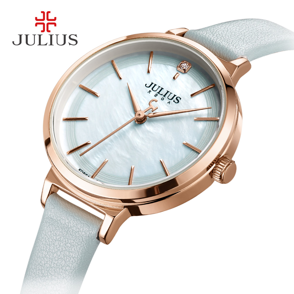 Mother-of-pearl Julius Lady Women's Watch Elegant Concise Fashion Hours Luxury Dress Bracelet Leather Clock Girl's Gift Box lady of magick