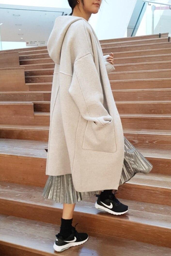 Mujeres Casual Con Rebeca White Invierno Solo Suéter Punto De Capucha Knitwear Sólido gray Pecho Capa brown Cardigan Flojo 2018 B540 dtpxq66w