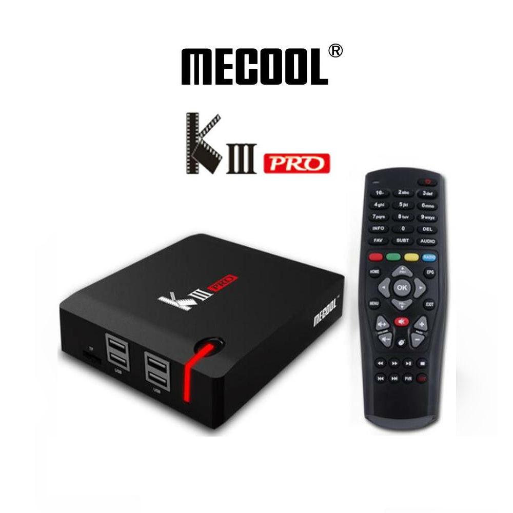 цена MECOOL KIII PRO DVB-S2 DVB-T2 DVB-C Android 7.1 TV Box 4K Combo NEWCAMD Biss key PowerVU 2.4/5GHz Dual Wifi