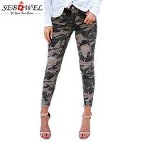 SEBOWEL Distressed Camo Denim Pants Woman Military 2019 New Raw Hem Skinny Jeans Female Camouflage Style Cool Holes Pencil Pants