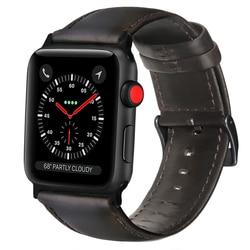 FOLOME Kuh Leder Armband Braun Kaffee Schwarz Echt Lederband für Apple Uhr Serie 1/2/3/ 4 38mm/42mm/40mm/44mm
