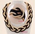 2015 Nueva encanto Declaración temperamento chunky Pulsera + Collar de Oro Cadena de Metal Moda Mujeres Juegos de Joyería Accesorios