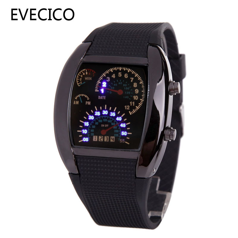 ФОТО Multifunctional character table LED car lovers watch gift belt watch electronic current digital watch