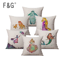 2018 Mary  Peter Pan Watercolor Sofa Pillow For Home Decoration Fairy Tale Princess Hero Heroine Cushion Cover Pillowcase цена и фото