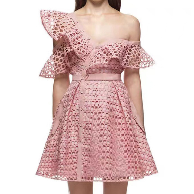 Women Bohemian Lace Runway Dress Ladies Hollow Out Off Shoulder Mini ...