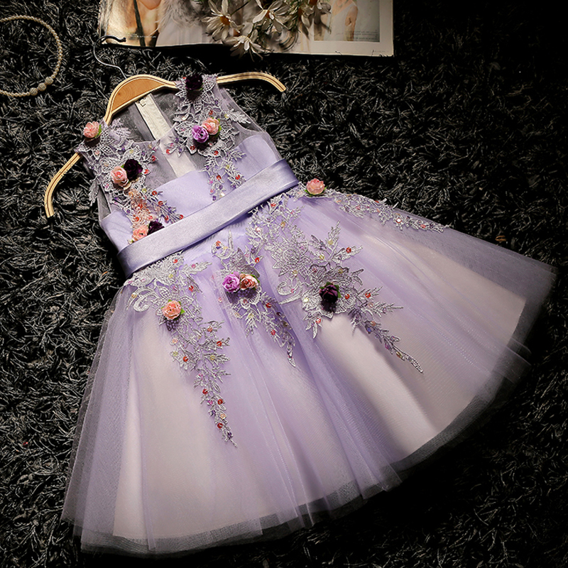 Lovely Princess Girls Dress Ball Gown Evening Dresses New Fashion Floral Clothing Kids Girls Appliques Purple Gown Dress JF257Lovely Princess Girls Dress Ball Gown Evening Dresses New Fashion Floral Clothing Kids Girls Appliques Purple Gown Dress JF257