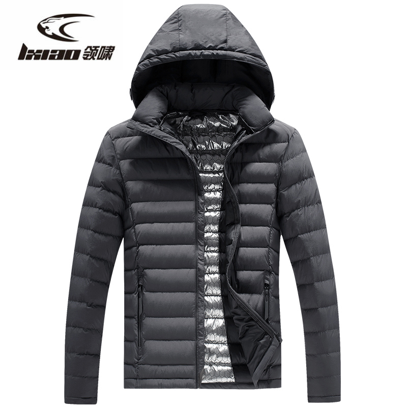 LXIAO New Men Down Jackets Removable Hat Outdoor Windproof Thermal Hunting Fishing Camping Hiking Climbing Winter