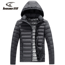 LXIAO New Men Down Jackets Removable Hat Outdoor Windproof Thermal Hunting Fishing Camping Hiking Climbing Winter Jacket Men