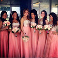 2017 Cristal Rhinestone Longo Chiffon Dama de Honra Vestidos Querida Backless Formais Vestidos de Festa de Casamento Vestido de Festa Pageant