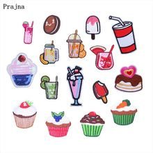 Prajna Kids Patches Cartoon Cake Ice Cream Juice Iron On Patches Clothes Cartoons Patch Stripes On Sew Badge For Baby Cloth DIY(China)